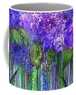 Coffee Mug featuring the mixed media Hydrangea Bloomies 3 - Purple by Carol Cavalaris