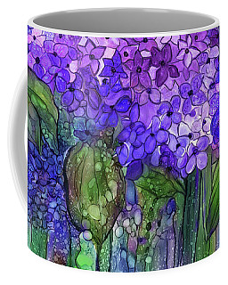Coffee Mug featuring the mixed media Hydrangea Bloomies 4 - Purple by Carol Cavalaris