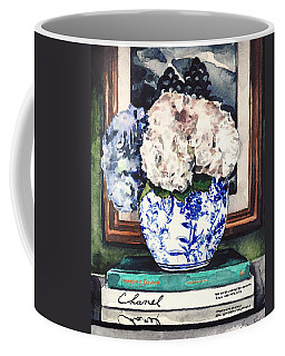 Hydrangeas In Blue And White Chinoiserie Melon Vase With Books Coffee Mug