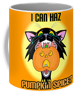 Coffee Mug featuring the mixed media I Can Haz Pumpkin Spice? by J L Meadows
