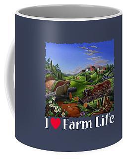 I Love Farm Life T Shirt - Spring Groundhog - Country Farm Landscape 2 Coffee Mug