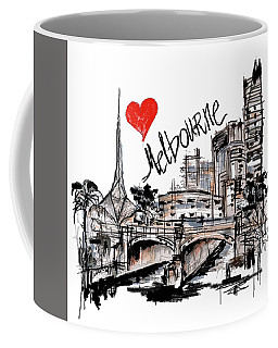 Coffee Mug featuring the drawing I Love Melbourne  by Sladjana Lazarevic
