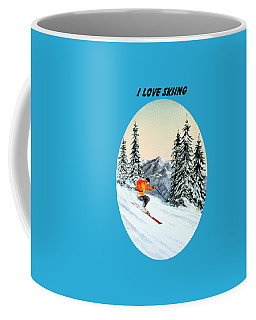 Coffee Mug featuring the painting I Love Skiing  by Bill Holkham
