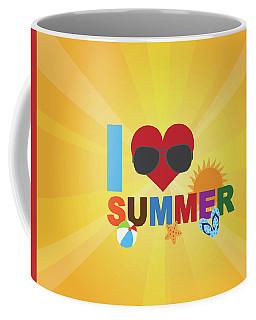 I Love Summer Beach Scene Illustration Coffee Mug
