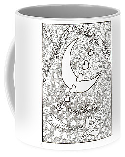 Coffee Mug featuring the drawing I Love You To The Moon And Back by Wendy Coulson