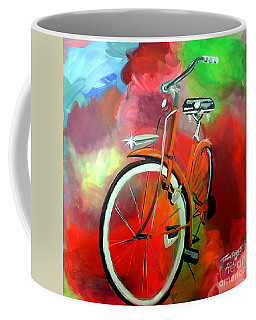 Coffee Mug featuring the painting I Ride My Bike by Tom Riggs