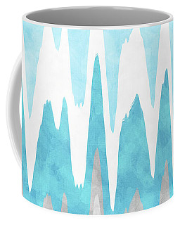 Coffee Mug featuring the mixed media Ice Blue Abstract by Christina Rollo