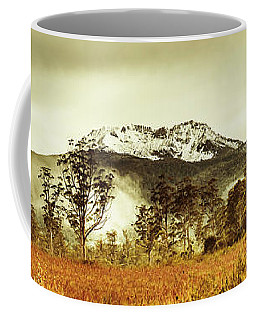 Ice Covered Mountain Panorama In Tasmania Coffee Mug