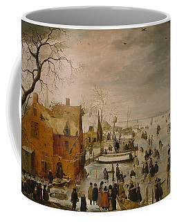 Coffee Mug featuring the painting Ice Landscape by Hendrick Avercamp