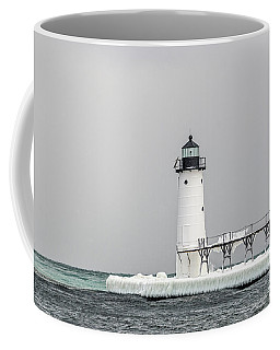 Coffee Mug featuring the photograph Ice On The Pier At Manistee Light by Sue Smith