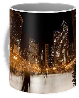 Ice Skaters And Chicago Skyline Coffee Mug