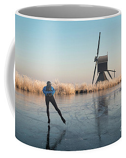Ice Skating Past Frosted Reeds And A Windmill Coffee Mug