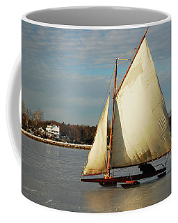 Ice Yachting Coffee Mug by James Kirkikis