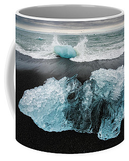 Iceberg And Black Beach In Iceland Coffee Mug