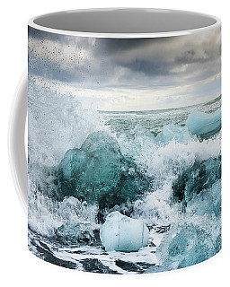 Coffee Mug featuring the photograph Icebergs And Crashing Waves In Iceland by Matthias Hauser