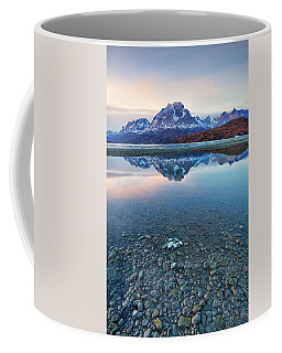 Icebergs And Mountains Of Torres Del Paine National Park Coffee Mug by Phyllis Peterson