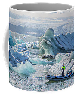 Icebergs On Jokulsarlon Lagoon In Iceland Coffee Mug by Venetia Featherstone-Witty