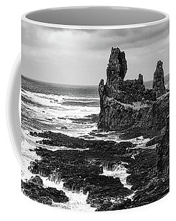 Iceland Coast Malarrif Black And White Coffee Mug by Matthias Hauser