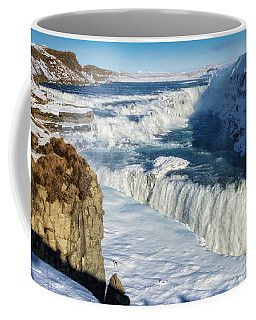 Coffee Mug featuring the photograph Iceland Gullfoss Waterfall In Winter With Snow by Matthias Hauser