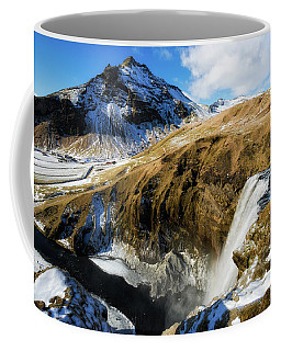Coffee Mug featuring the photograph Iceland Landscape With Skogafoss Waterfall by Matthias Hauser