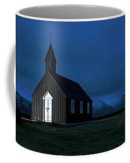 Coffee Mug featuring the photograph Icelandic Church At Night by Dubi Roman