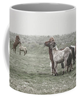Icelandic Horses Looming Dust Storm Coffee Mug