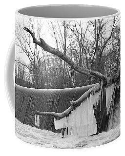 Icicle Laden Branch Over The Waterfall Coffee Mug