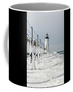 Coffee Mug featuring the photograph Icy Fringe On The Catwalk - Vertical Orientation by Sue Smith