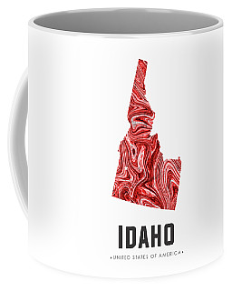 Idaho Map Art Abstract In Red Coffee Mug