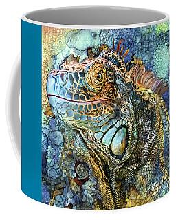 Coffee Mug featuring the mixed media Iguana - Spirit Of Contentment by Carol Cavalaris