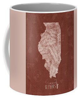 Illinois Map Music Notes 5 Coffee Mug
