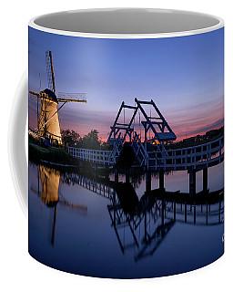 Illuminated Windmills, A Bridge And A Canal At Sunset Coffee Mug