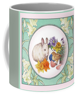Illustrated Bunny With Easter Floral Coffee Mug