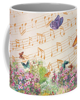 Illustrated Butterfly Garden With Musical Notes Coffee Mug