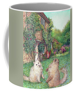 Illustrated Cats In English Cottage Garden Coffee Mug by Judith Cheng