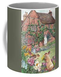 Coffee Mug featuring the painting Illustrated English Cottage With Bunny And Bird by Judith Cheng