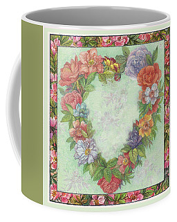 Coffee Mug featuring the painting Illustrated Heart Wreath by Judith Cheng