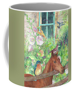 Illustrated Horse And Birds In Garden Coffee Mug
