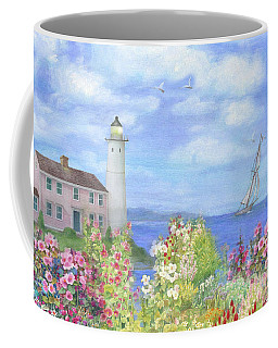 Illustrated Lighthouse By Summer Garden Coffee Mug