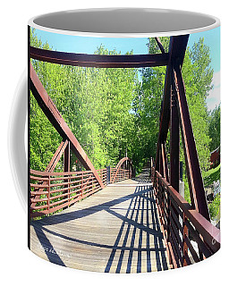 Image Included In Queen The Novel - Bike Path Bridge Over Winooski River With Sailboat 22of74 Enhanc Coffee Mug