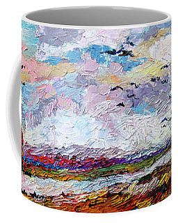 Impressionist Autumn Panoramic Landscape Bird Migration Coffee Mug