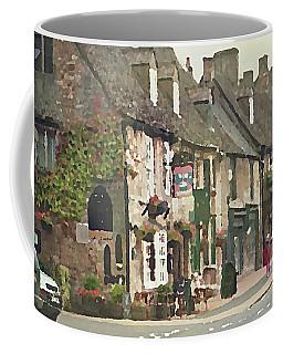 Coffee Mug featuring the digital art Impressionist Corner Shops by Shelli Fitzpatrick