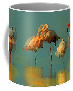 Coffee Mug featuring the digital art Impressionist Flamingo Abstract by Shelli Fitzpatrick