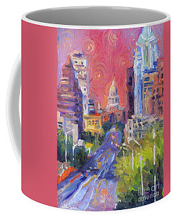 Impressionistic Downtown Austin City Painting Coffee Mug