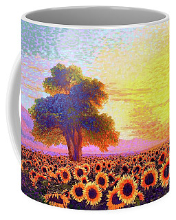 In Awe Of Sunflowers, Sunset Fields Coffee Mug