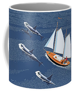 Coffee Mug featuring the digital art In The Company Of Whales by Gary Giacomelli