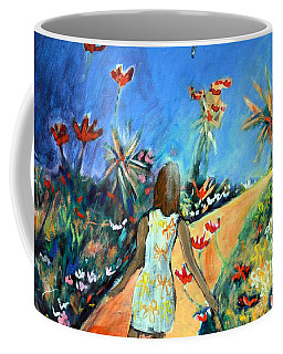 Coffee Mug featuring the painting In The Garden Of Joy by Winsome Gunning
