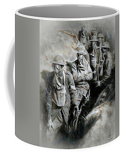 Coffee Mug featuring the digital art In The Trenches by Pennie  McCracken