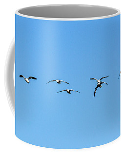 Coffee Mug featuring the pyrography Incoming Snow Geese  by Daniel Hebard