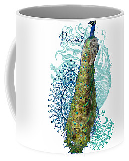 Indian Peacock Henna Design Paisley Swirls Coffee Mug